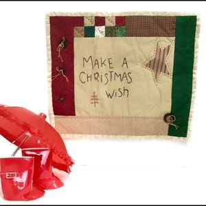 """""""Make A Christmas Wish"""" Vintage Wall Quilt 12 X 14"""